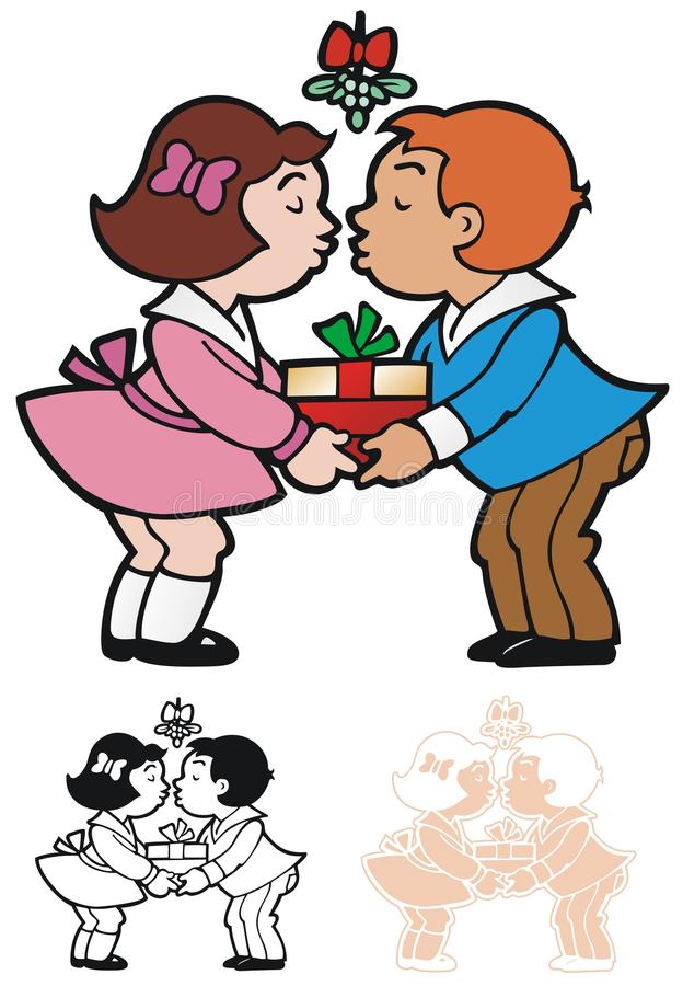 Mistletoe. Two young people sharing a present under the mistletoe stock illustration