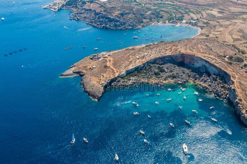 Mistra Bay, Xemxija, western part of St. Paul's Bay, Northern Region, Malta. Aerial view. stock photos
