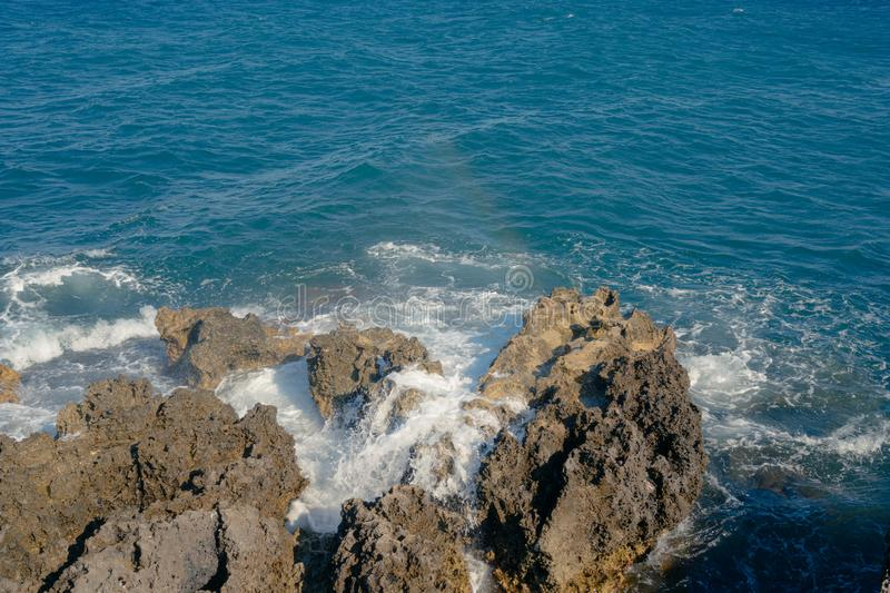 Mistral is blowing over the sea and some waves royalty free stock photos