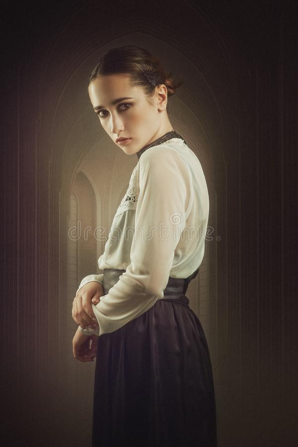 Mistress of the House On the Hill. Horror style female portrait royalty free stock images