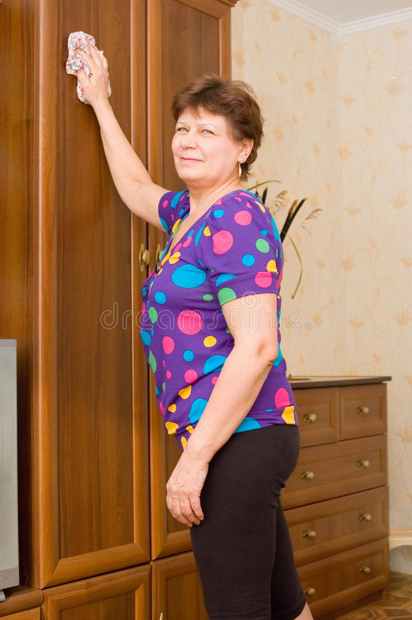 Download The Mistress Wipes Furniture Stock Image - Image: 13120341