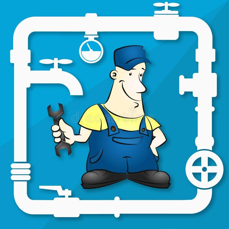 Mistrz dla remontowej instalaci wodnokanalizacyjnej ilustraci ilustracja wektor