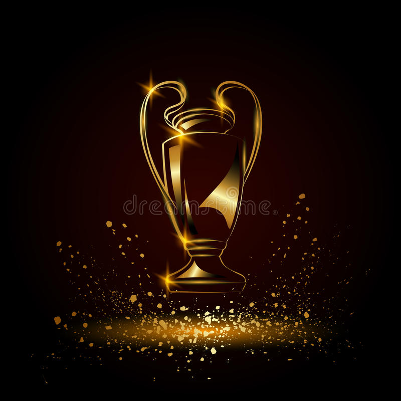 Mistrz filiżanka Kruszcowy Złoty piłki nożnej trofeum ilustracji