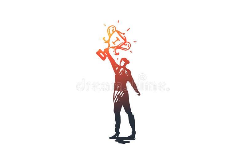 Mistrz, lider, zwycięzcy wektoru pojęcie Ręka rysująca nakreślenie odosobniona ilustracja ilustracja wektor