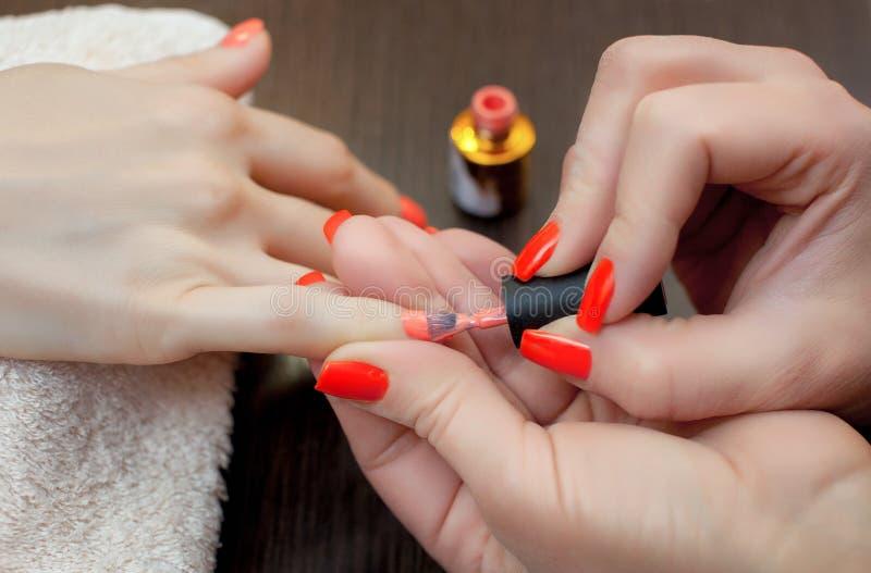 Mistrz manicure maluje gwoździe z gwoździa połyskiem podczas procedury gwoździ rozszerzenia z gel zdjęcie royalty free