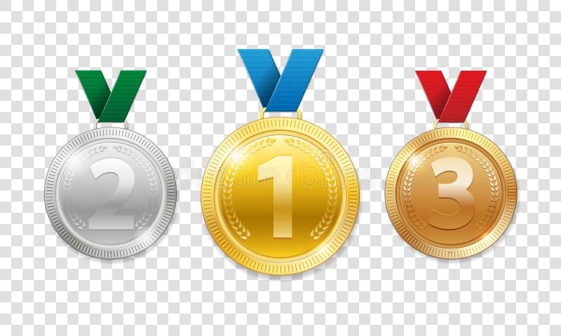 Mistrz nagrody medale dla sporta zwycięzcy nagrody Set realistyczny 3d złoto, srebro i brąz, nagradzamy trofeum medale z ilustracja wektor