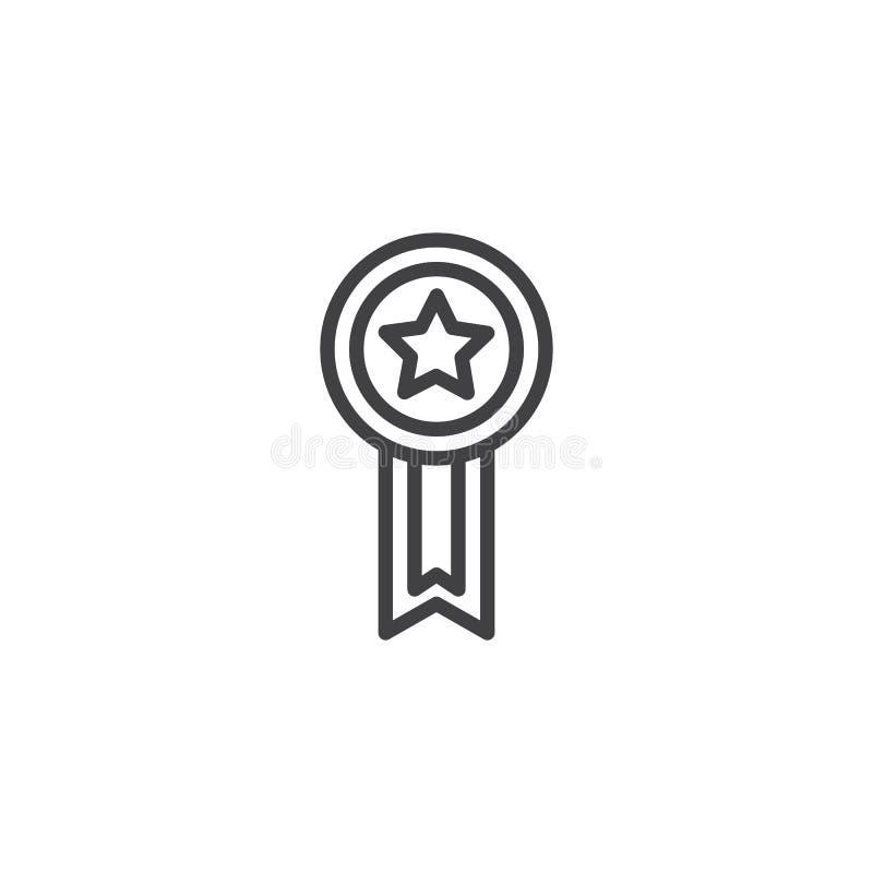 Mistrz odznaki linii tasiemkowa ikona ilustracja wektor