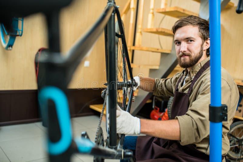 Mistrz rower remontowa usługa fotografia royalty free