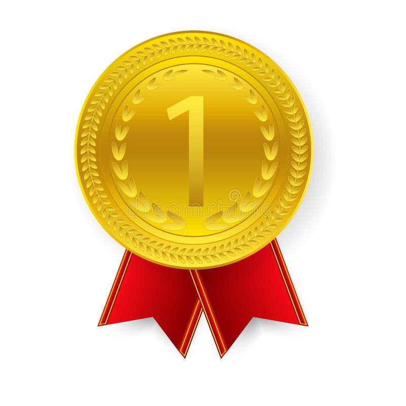 Mistrz sztuki Złoty medal z Czerwonym faborkiem l ikona znaka Pierwszy miejsce Odizolowywający na tle ilustracji