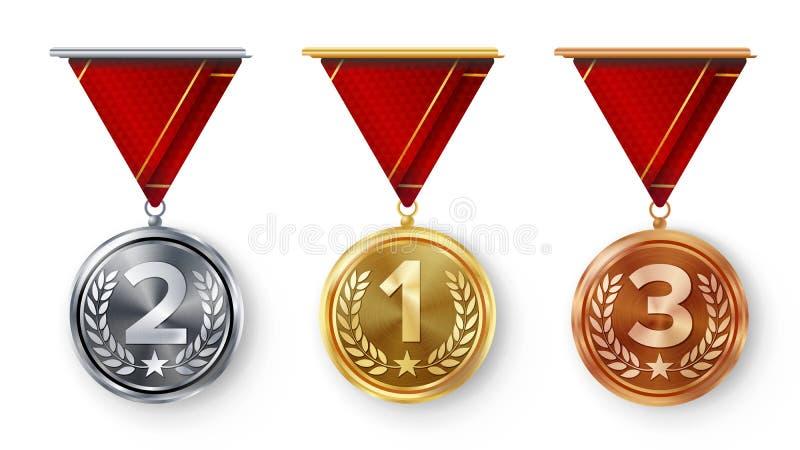 Mistrza medal Ustawiający wektor Metalu Realistyczny Pierwszy, Drugi Trzeci plasowania osiągnięcie Round medale Z Czerwonym fabor royalty ilustracja