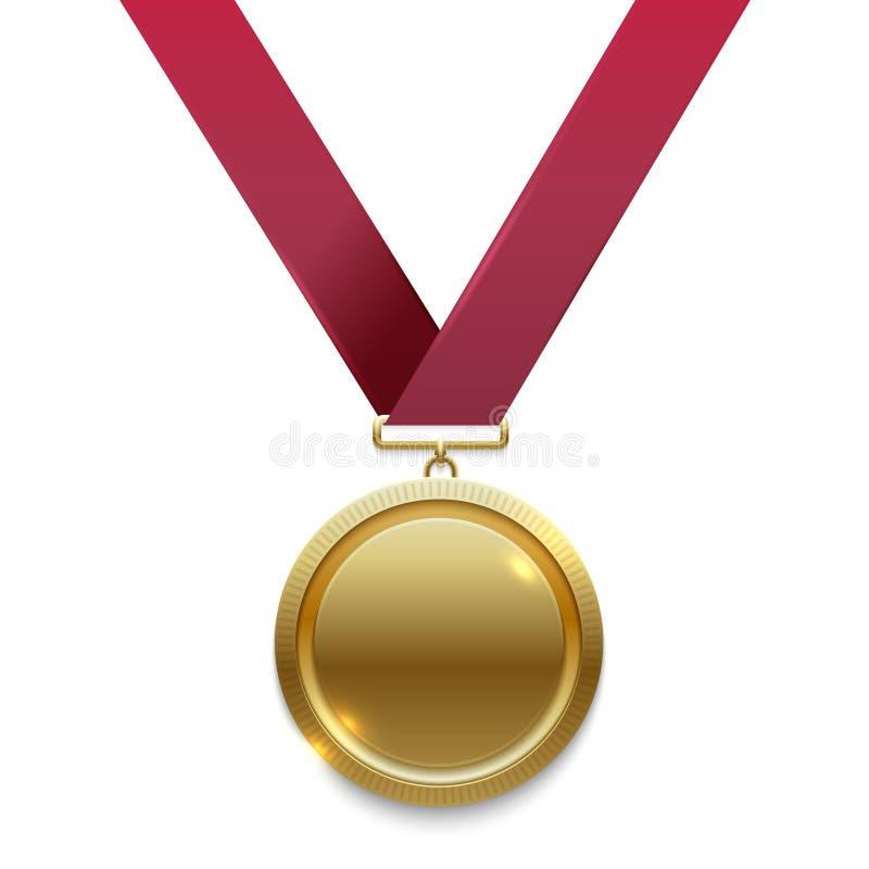 Mistrza złoty medal na czerwonym faborku ilustracja wektor