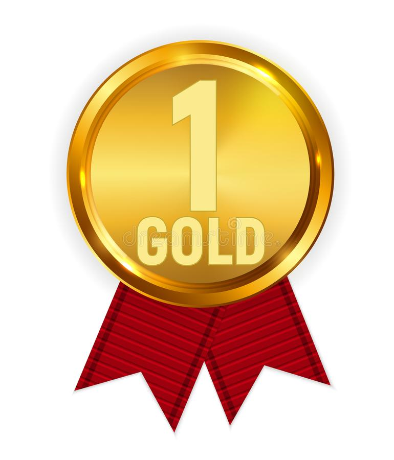 Mistrza złoty medal z Czerwonym faborkiem Ikona znak Pierwszy miejsce Odizolowywający na Białym tle również zwrócić corel ilustra ilustracji