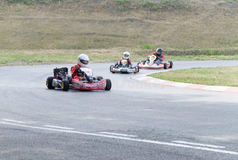 Mistrzostwo Omsk region na lecie karting zdjęcie royalty free