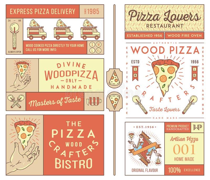 Mistrzowie i kochankowie pizza barwiący ilustracji