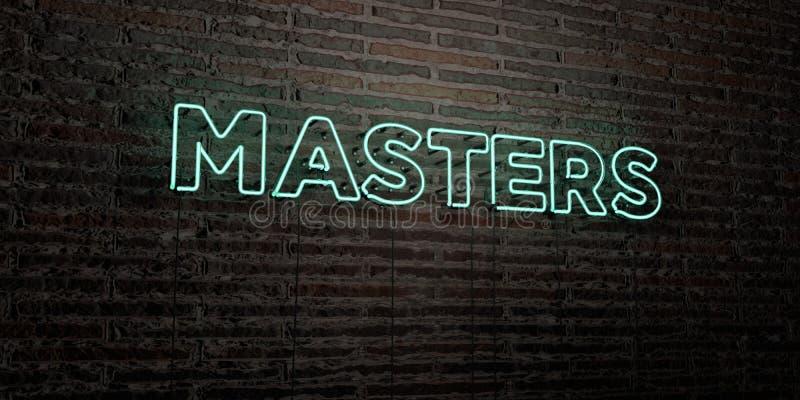 MISTRZOWIE - Realistyczny Neonowy znak na ściana z cegieł tle - 3D odpłacający się królewskość bezpłatny akcyjny wizerunek ilustracja wektor