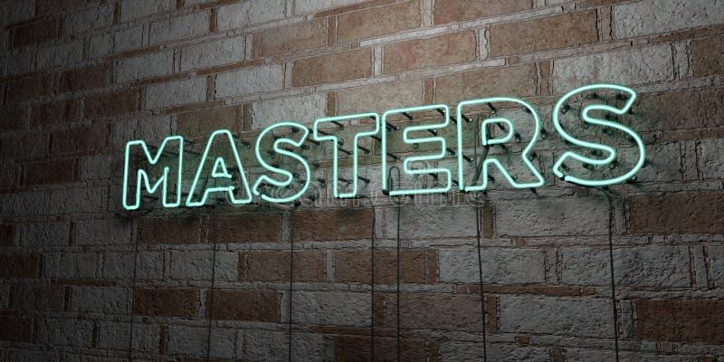 MISTRZOWIE - Rozjarzony Neonowy znak na kamieniarki ścianie - 3D odpłacająca się królewskości bezpłatna akcyjna ilustracja royalty ilustracja