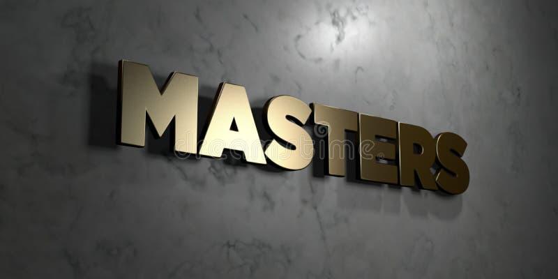 Mistrzowie - złoto znak wspinający się na glansowanej marmur ścianie - 3D odpłacająca się królewskości bezpłatna akcyjna ilustrac ilustracja wektor