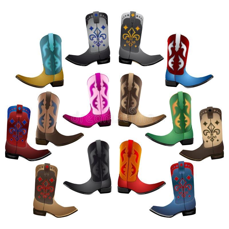 Mistrzowscy inkasowi Kowbojscy buty ilustracja wektor