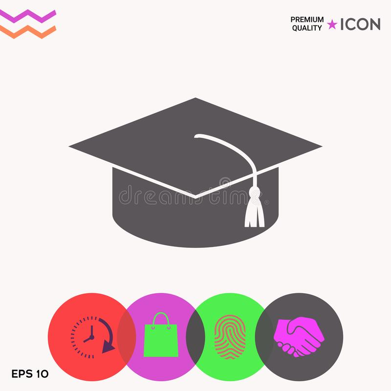 Mistrzowska nakrętka dla absolwentów, kwadratowa akademicka nakrętka, skalowanie nakrętki ikona ilustracja wektor