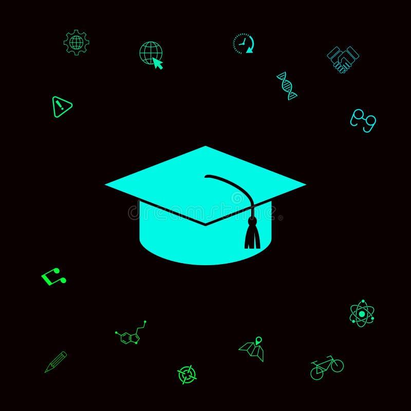 Mistrzowska nakrętka dla absolwentów, kwadratowa akademicka nakrętka, skalowanie nakrętki ikona Graficzni elementy dla twój desig royalty ilustracja