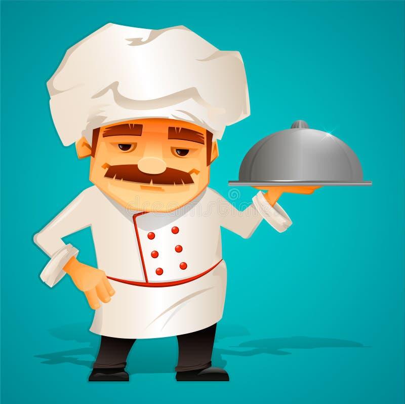 Mistrzowski szef kuchni kucharz charakter Piękny kreskówka styl ilustracji