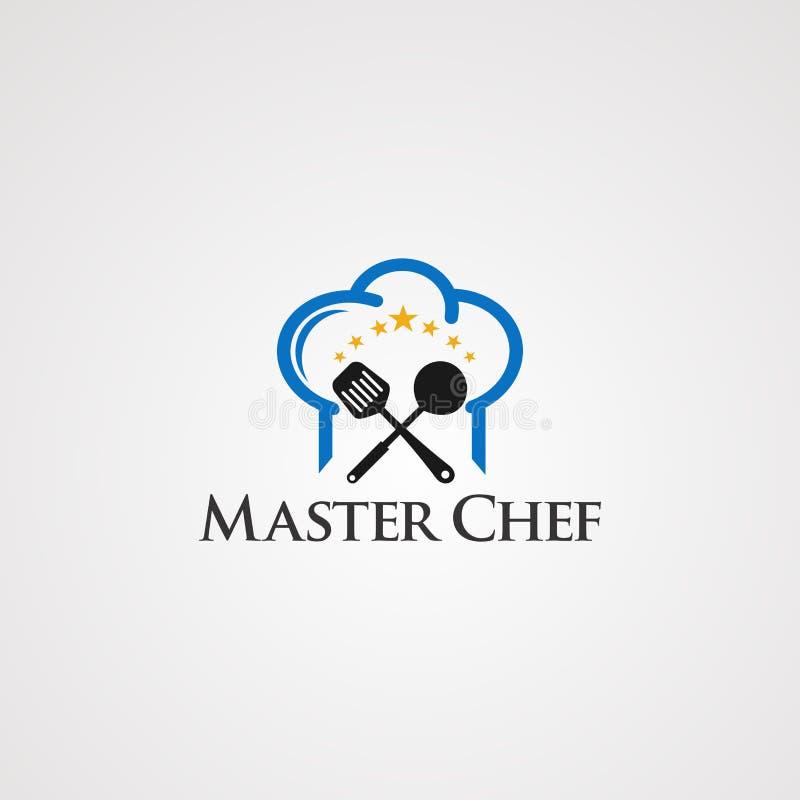 Mistrzowski szef kuchni z gwiazdowym pojęcie logo wektorem, ikoną, elementem i szablonem dla firmy kierowniczym i małym, royalty ilustracja