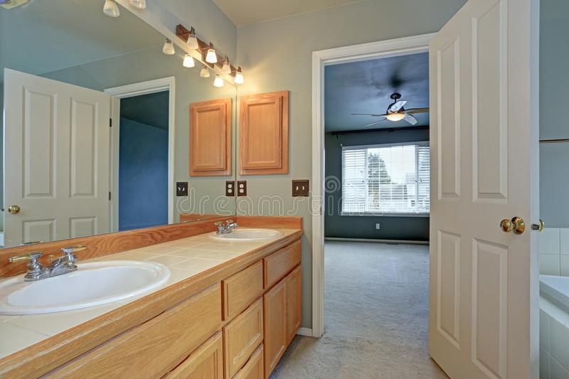 Mistrzowskie łazienka apartamentu cechy zaświecają drewnianego bezcelowość gabineta fotografia royalty free