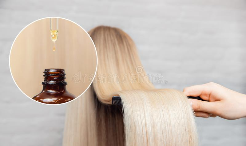 Mistrzowskiego fryzjer procedury oleju w?osiany traktowanie dla kobiety Poj?cie zdroju salon zdjęcie royalty free