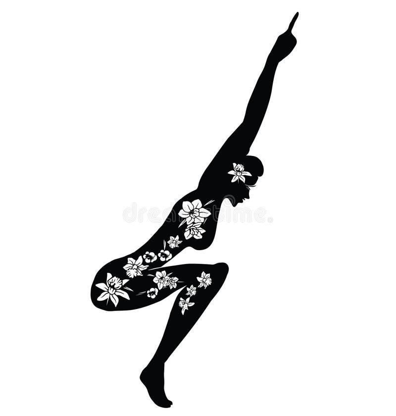 mistrzu jogi kobiety Wektorowa ilustracja kobieta Robi sprawno?ci fizycznej ?wiczeniu Sylwetka z kwiatu r?ni?tym projektem obraz royalty free