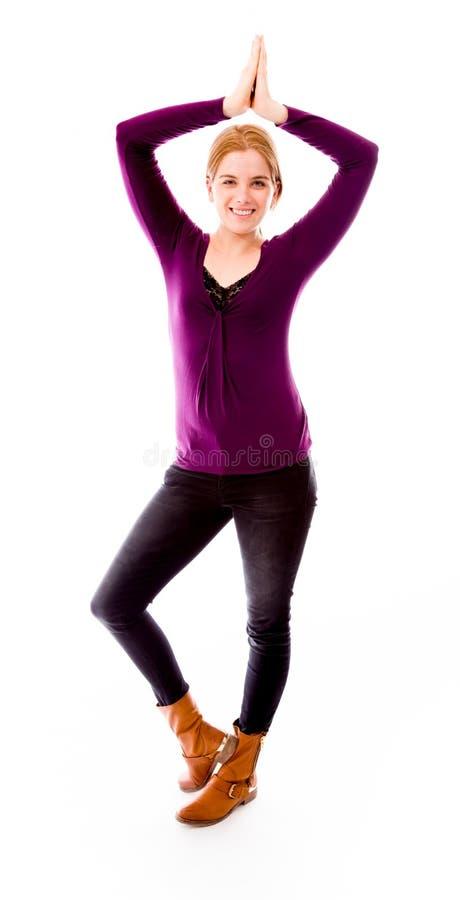 Download Mistrzu jogi młode kobiety zdjęcie stock. Obraz złożonej z satysfakcja - 41950054