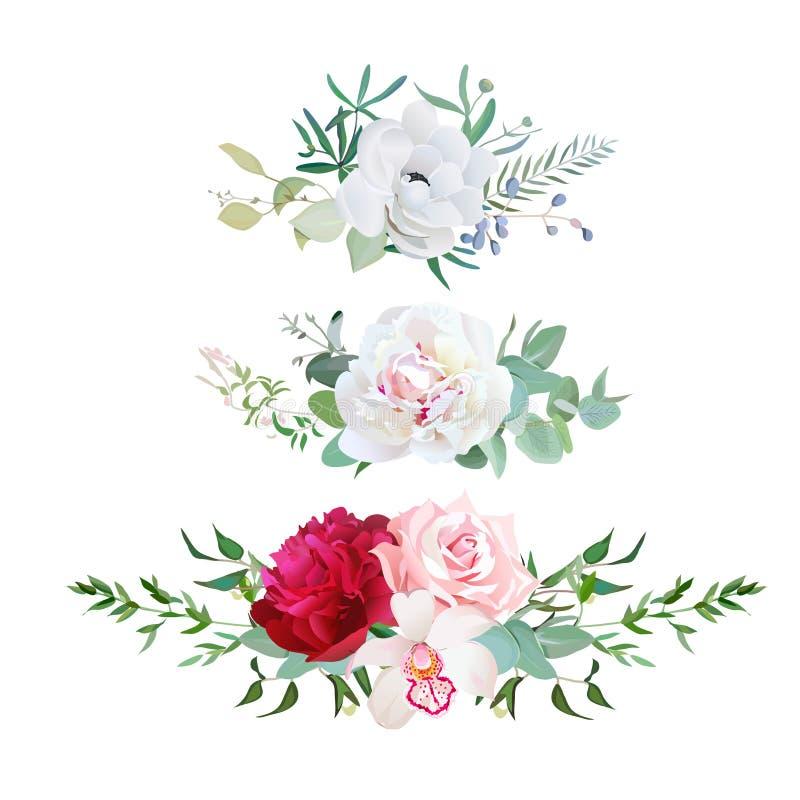Mistura à moda de flores horizontais do projeto do vetor dos ramalhetes da flor ajustadas ilustração do vetor