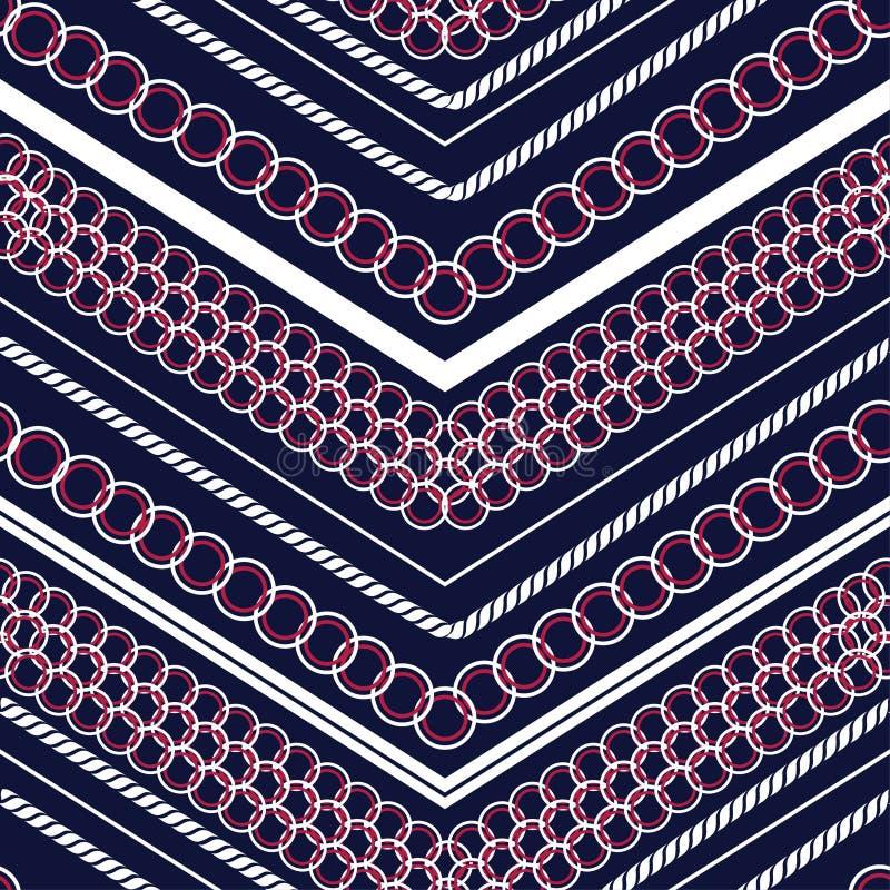 Mistura colorida na moda do teste padrão de às bolinhas e linha moderna geométrica vetor sem emenda do ziguezague do teste pad ilustração stock