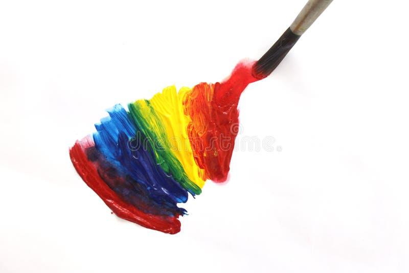 Mistura das cores da pintura acrílica fotografia de stock