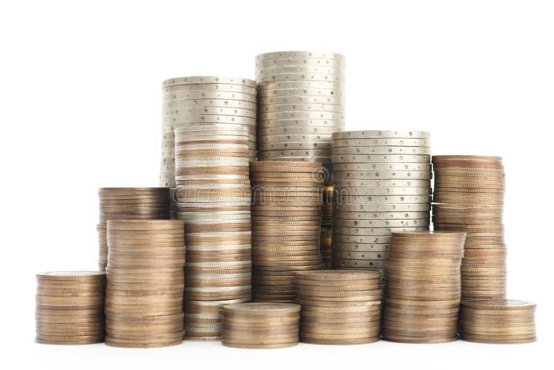 Mistura das moedas do ouro, as de bronze e as de prata fotos de stock royalty free