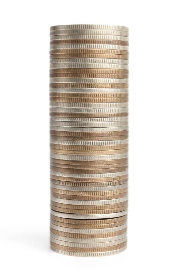 Mistura das moedas do ouro, as de bronze e as de prata fotografia de stock royalty free