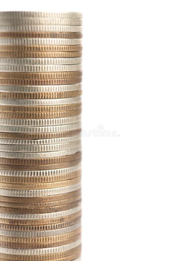 Mistura das moedas do ouro, as de bronze e as de prata imagens de stock