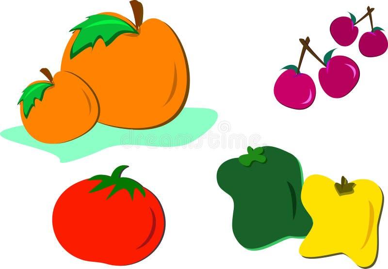 Mistura de alimentos coloridos saudáveis ilustração stock