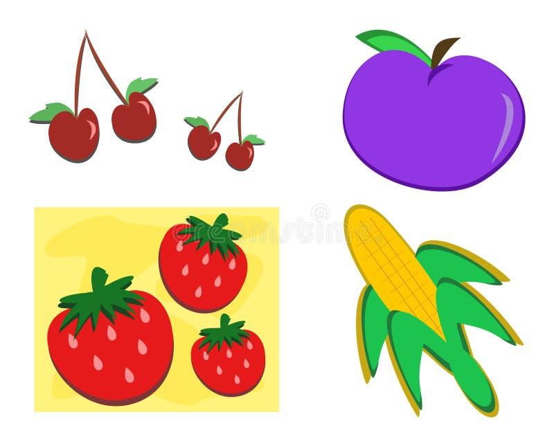Mistura de alimentos saudáveis a apreciar ilustração stock