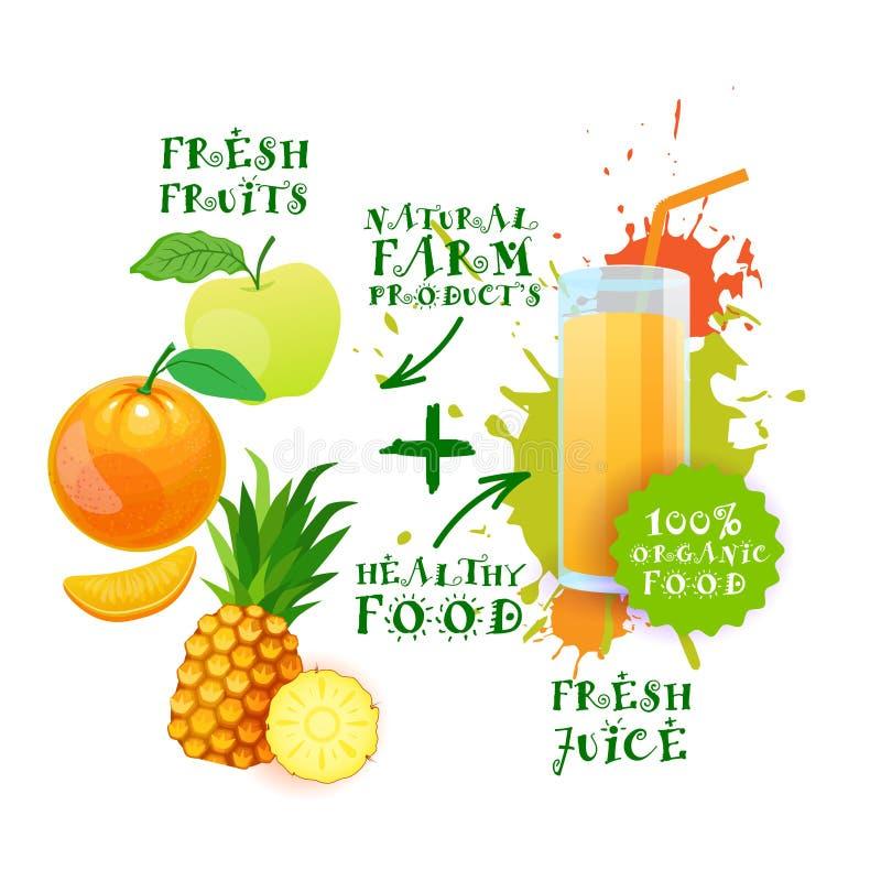 Mistura de conceito de produtos agrícolas fresco de Juice Cocktail Logo Natural Food ilustração stock