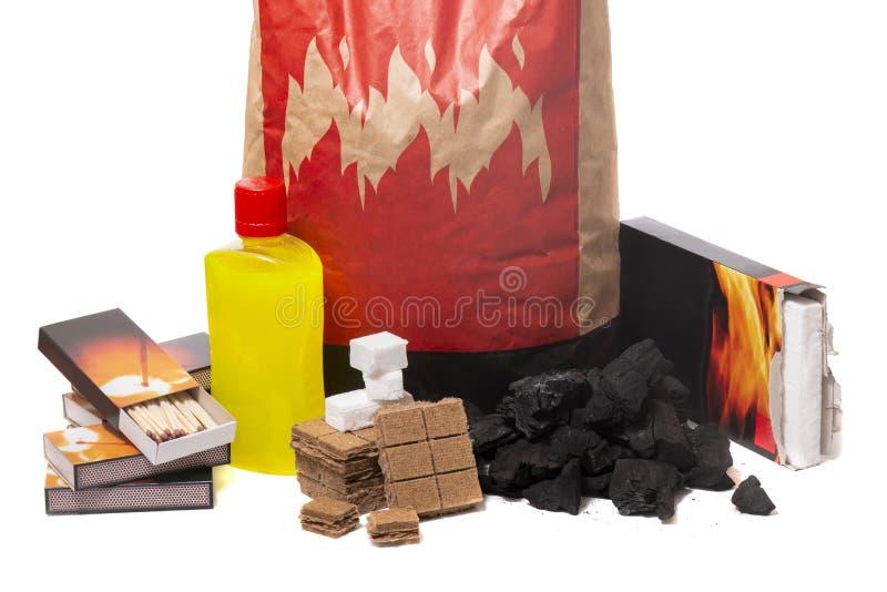 Mistura de elementos do firestarter do assado fotografia de stock royalty free