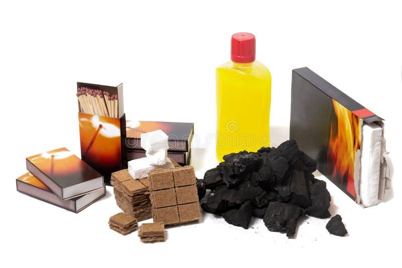 Mistura de elementos do firestarter do assado fotografia de stock
