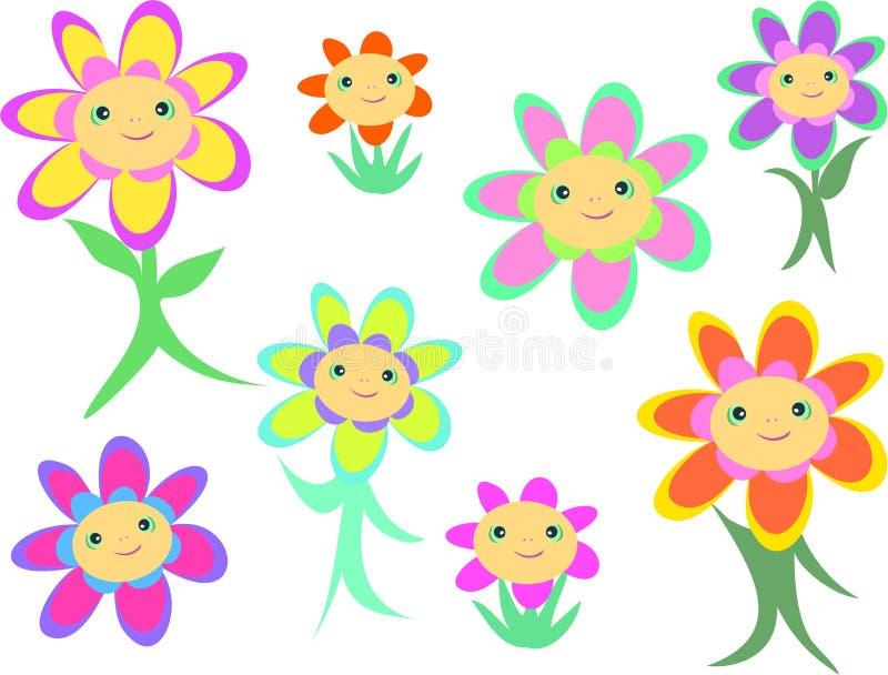 Mistura de faces e de corpos da flor ilustração do vetor
