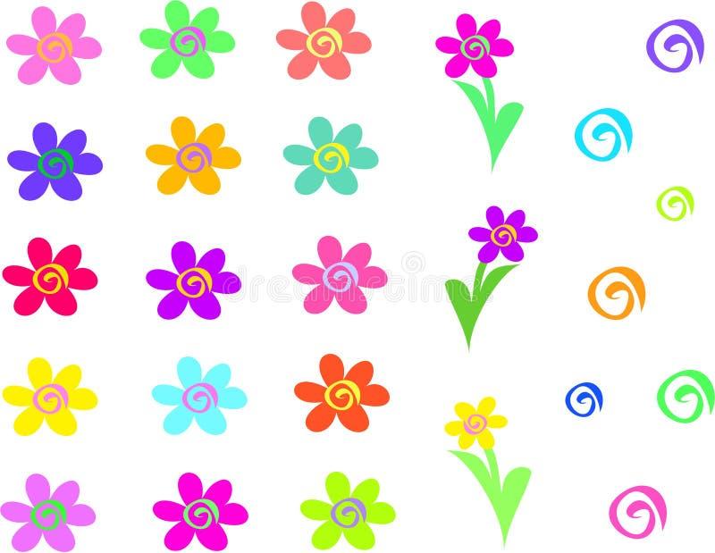 Mistura de flores e de espirais ilustração do vetor