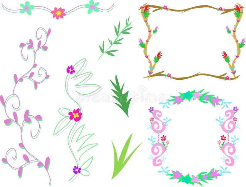 Mistura de frames florais e de projetos ilustração stock