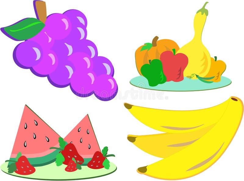 Mistura de frutas e verdura ilustração stock