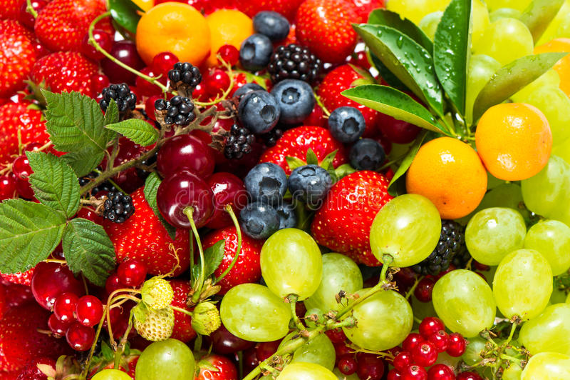 Mistura de frutos frescos e de bagas. ingredientes de alimento crus fotos de stock