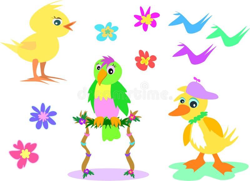 Mistura de pássaros e de flores ilustração stock