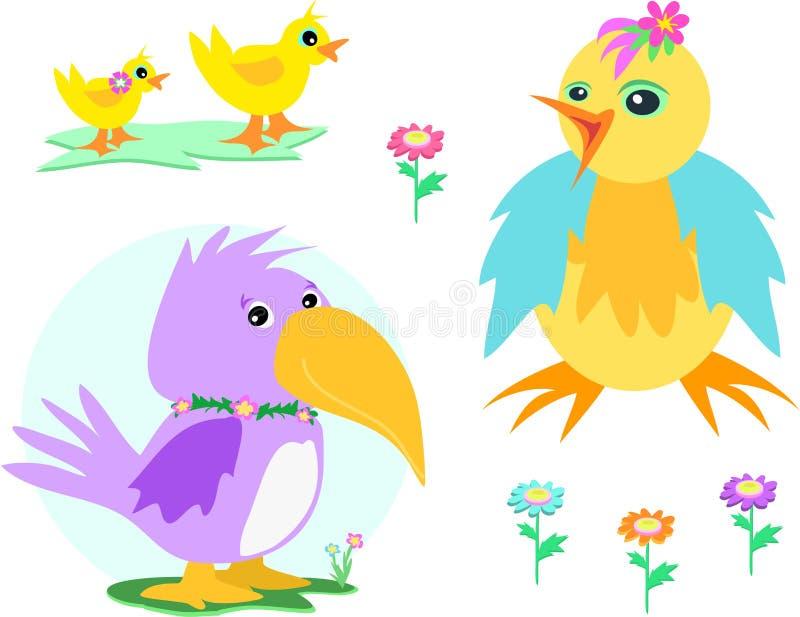 Mistura de patos, de galinha, de papagaio, e de flores ilustração royalty free