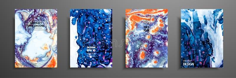 Mistura de pinturas acrílicas Textura de mármore líquida Arte fluida Aplicável para a tampa do projeto, apresentação, convite ilustração stock