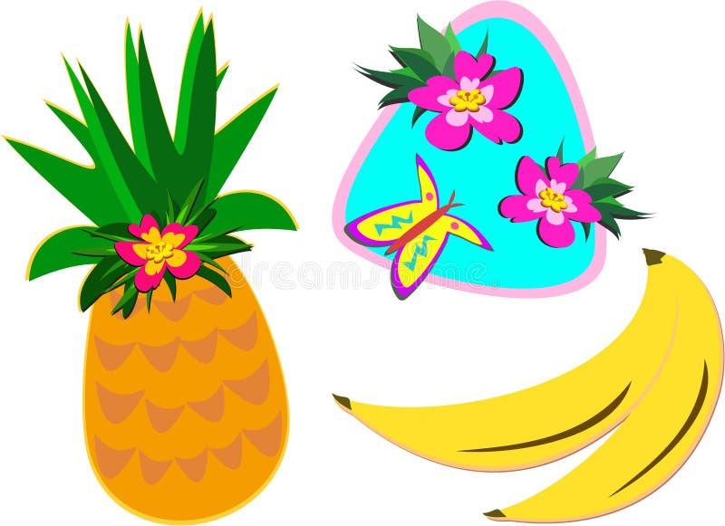 Mistura de plantas tropicais e de frutas ilustração stock